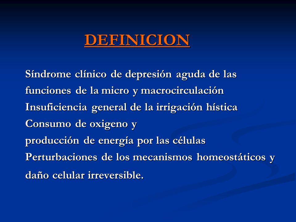 DEFINICION Síndrome clínico de depresión aguda de las funciones de la micro y macrocirculación Insuficiencia general de la irrigación hística Consumo