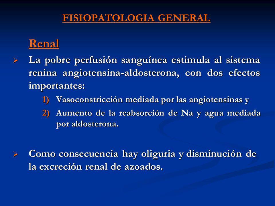 FISIOPATOLOGIA GENERAL Trastornos de la coagulación Generalmente ocurre CID por activación de los mecanismos de coagulación y fibrinolisis, hay disminución fibrinógeno, plaquetas y prolongación del TP y TPT (generalmente en shock séptico) Generalmente ocurre CID por activación de los mecanismos de coagulación y fibrinolisis, hay disminución fibrinógeno, plaquetas y prolongación del TP y TPT (generalmente en shock séptico) Trastornos inmunológicos El shock disminuye tanto la inmunidad específica como la inespecífica, por lo que el enfermo debe ser considerado como inmunodeprimido.