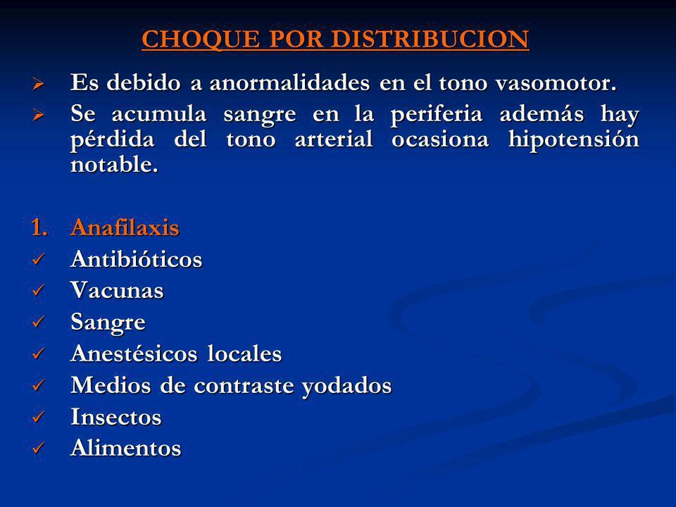 CHOQUE POR DISTRIBUCION Es debido a anormalidades en el tono vasomotor. Es debido a anormalidades en el tono vasomotor. Se acumula sangre en la perife
