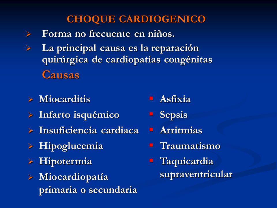 CHOQUE CARDIOGENICO Forma no frecuente en niños. Forma no frecuente en niños. La principal causa es la reparación quirúrgica de cardiopatías congénita