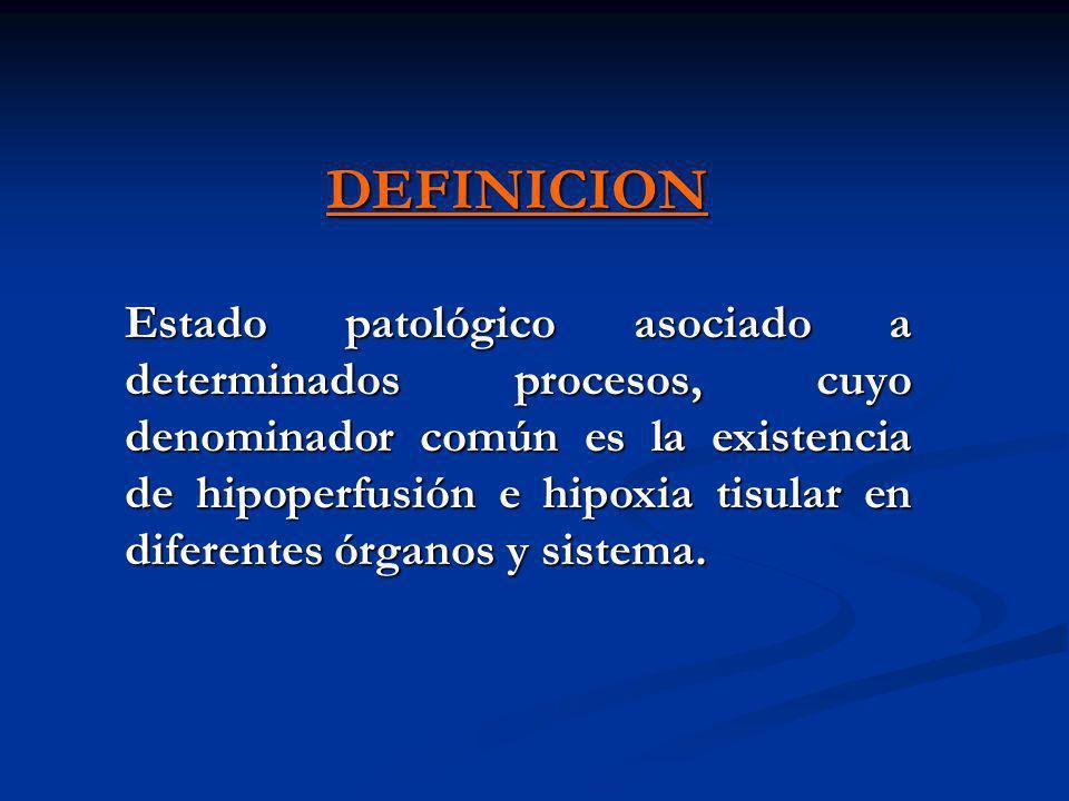 DEFINICION Estado patológico asociado a determinados procesos, cuyo denominador común es la existencia de hipoperfusión e hipoxia tisular en diferente
