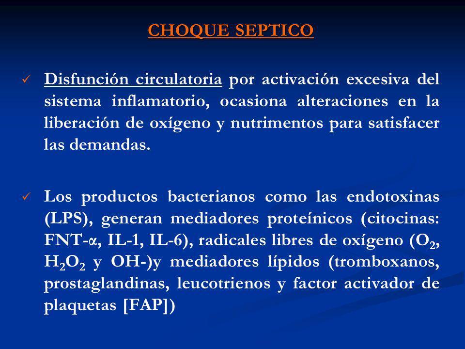 CHOQUE SEPTICO Los Mediadores producen: Vasodilatación Cortocircuitos preferenciales Daño histológico Alteraciones de la fosforilación oxidativa y Síndrome de fuga capilar.