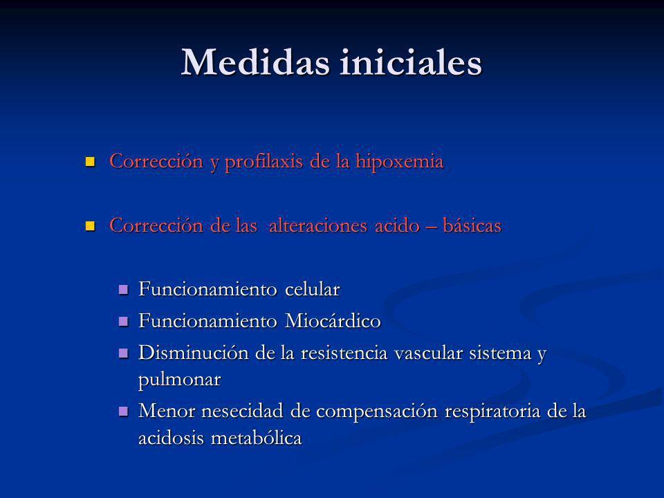 Medidas iniciales Corrección y profilaxis de la hipoxemia Corrección y profilaxis de la hipoxemia Corrección de las alteraciones acido – básicas Corre