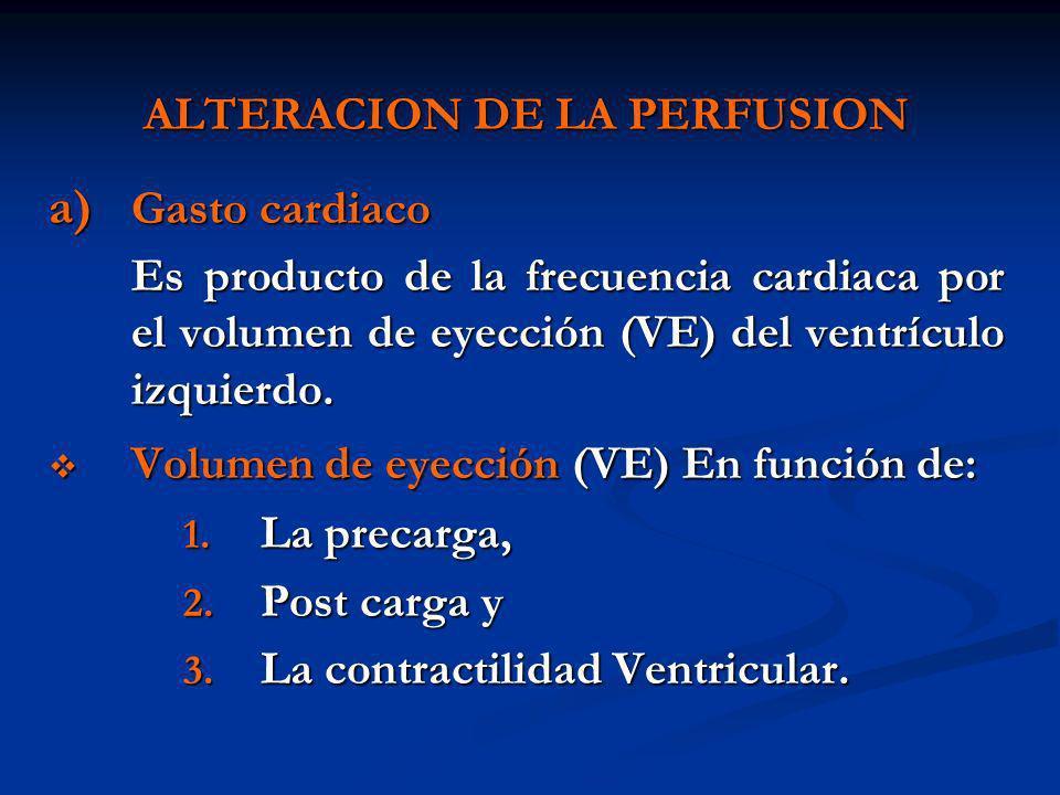 ALTERACION DE LA PERFUSION a) Gasto cardiaco Es producto de la frecuencia cardiaca por el volumen de eyección (VE) del ventrículo izquierdo. Volumen d