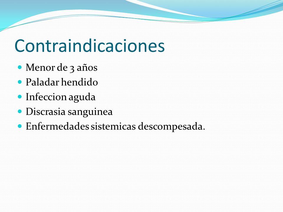 Contraindicaciones Menor de 3 años Paladar hendido Infeccion aguda Discrasia sanguinea Enfermedades sistemicas descompesada.