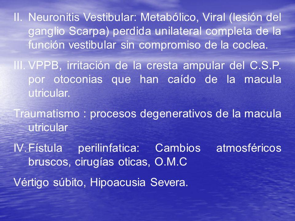II.Neuronitis Vestibular: Metabólico, Viral (lesión del ganglio Scarpa) perdida unilateral completa de la función vestibular sin compromiso de la cocl