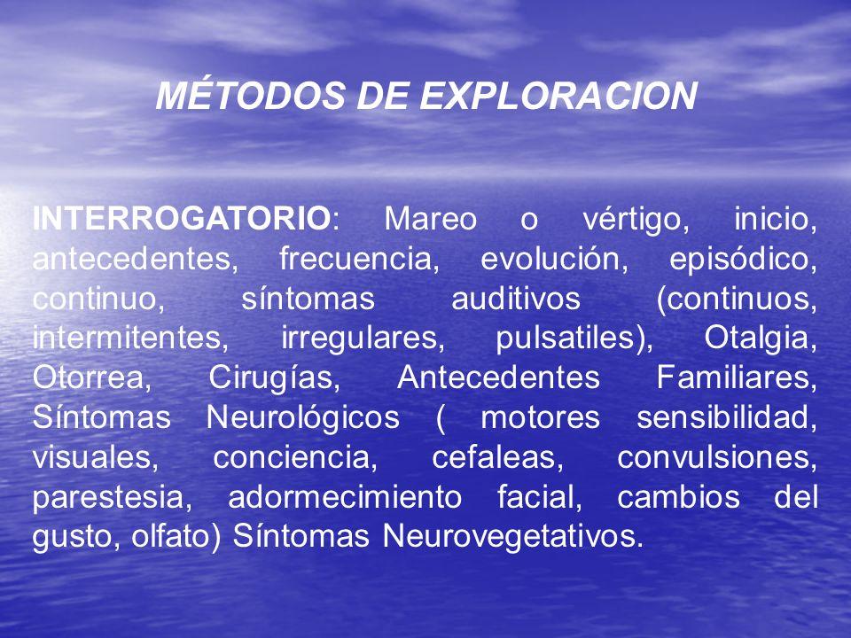 MÉTODOS DE EXPLORACION INTERROGATORIO: Mareo o vértigo, inicio, antecedentes, frecuencia, evolución, episódico, continuo, síntomas auditivos (continuo