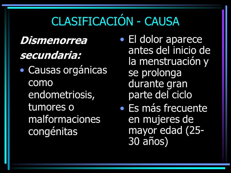 CLASIFICACIÓN - CAUSA Dismenorrea secundaria: Causas orgánicas como endometriosis, tumores o malformaciones congénitas El dolor aparece antes del inic