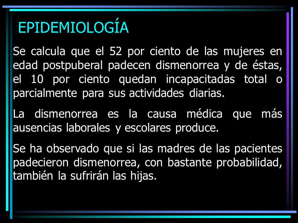 EPIDEMIOLOGÍA Se calcula que el 52 por ciento de las mujeres en edad postpuberal padecen dismenorrea y de éstas, el 10 por ciento quedan incapacitadas