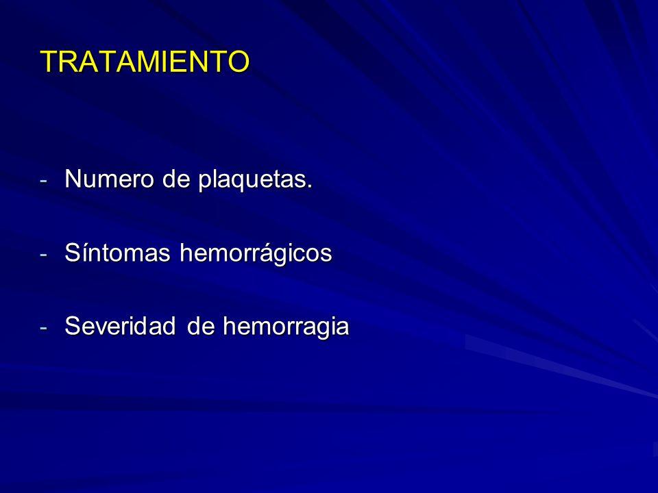 TRATAMIENTO - Numero de plaquetas. - Síntomas hemorrágicos - Severidad de hemorragia