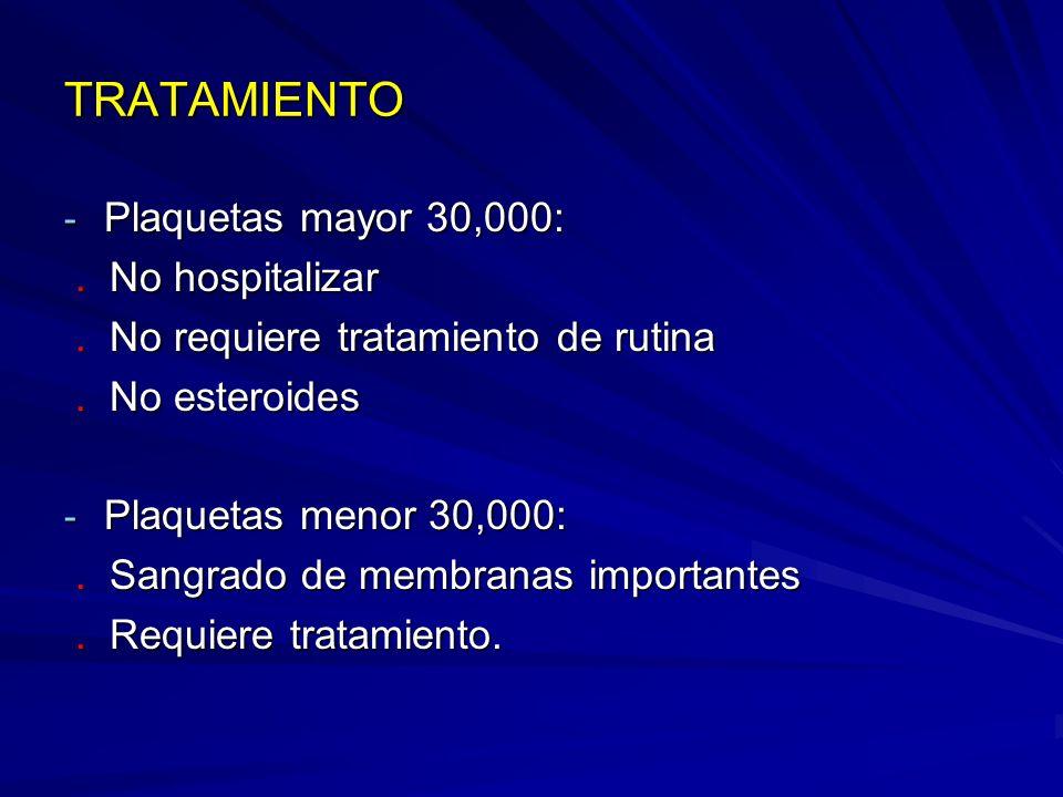 TRATAMIENTO - Plaquetas mayor 30,000:. No hospitalizar. No hospitalizar. No requiere tratamiento de rutina. No requiere tratamiento de rutina. No este