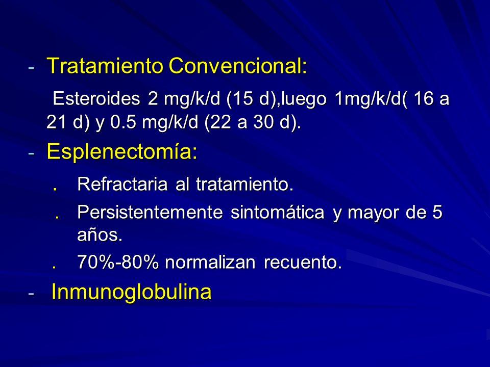 - Tratamiento Convencional: Esteroides 2 mg/k/d (15 d),luego 1mg/k/d( 16 a 21 d) y 0.5 mg/k/d (22 a 30 d). Esteroides 2 mg/k/d (15 d),luego 1mg/k/d( 1