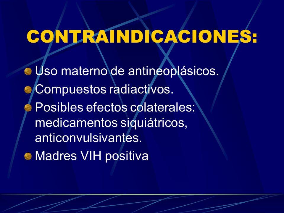 CONTRAINDICACIONES: Uso materno de antineoplásicos. Compuestos radiactivos. Posibles efectos colaterales: medicamentos siquiátricos, anticonvulsivante