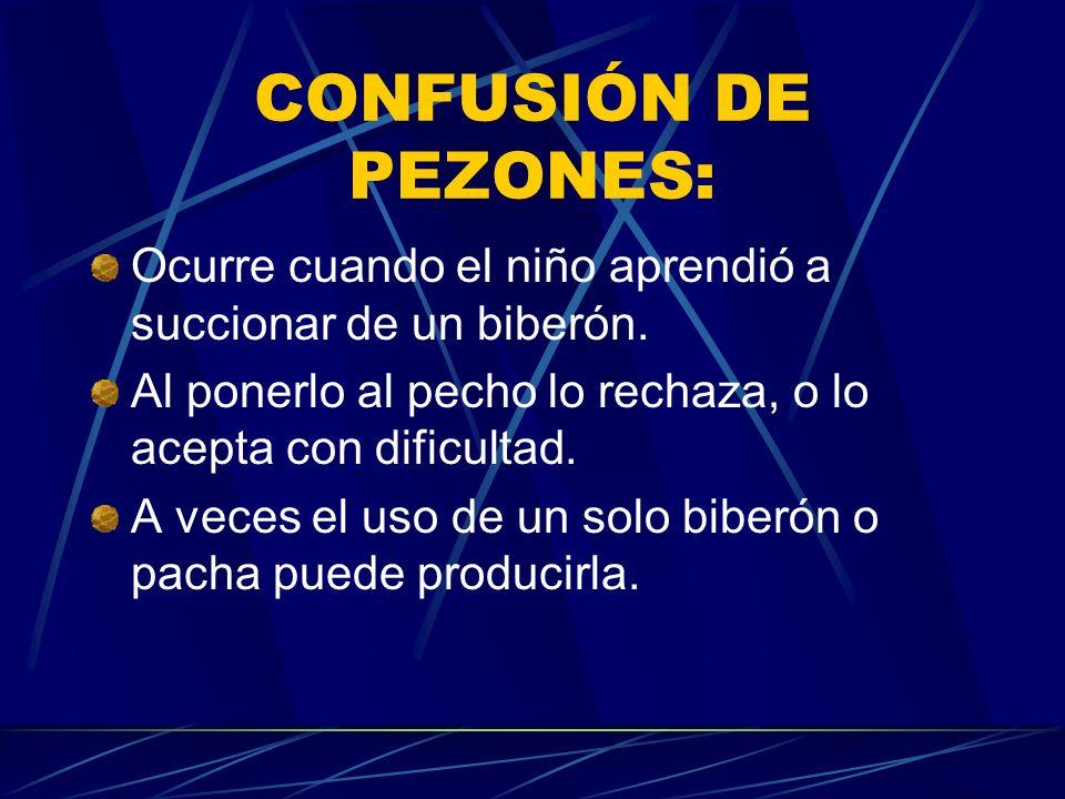 CONFUSIÓN DE PEZONES: Ocurre cuando el niño aprendió a succionar de un biberón. Al ponerlo al pecho lo rechaza, o lo acepta con dificultad. A veces el