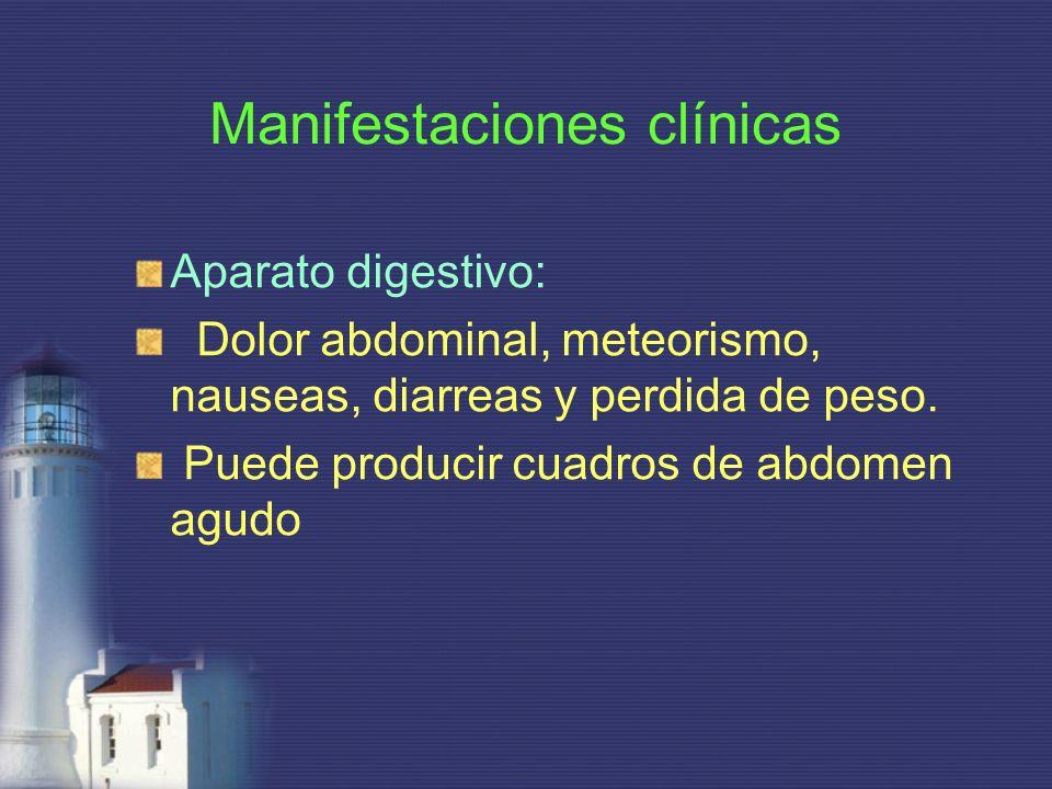 Manifestaciones clínicas Aparato digestivo: Dolor abdominal, meteorismo, nauseas, diarreas y perdida de peso. Puede producir cuadros de abdomen agudo