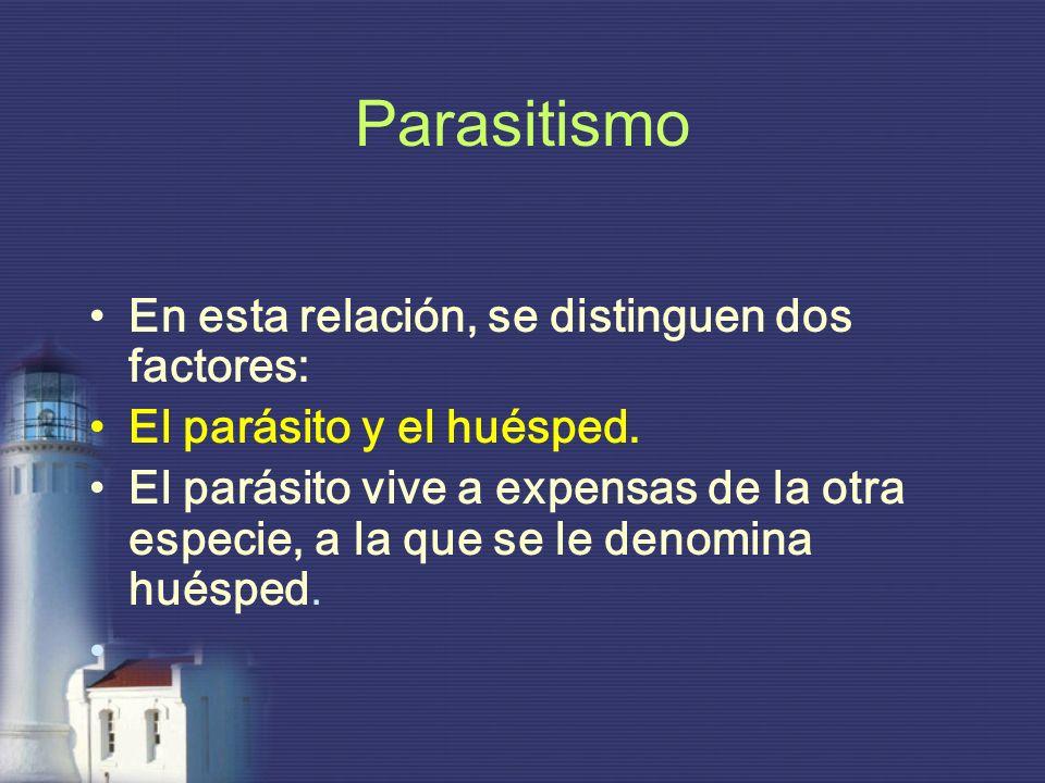 Parasitismo En esta relación, se distinguen dos factores: El parásito y el huésped. El parásito vive a expensas de la otra especie, a la que se le den