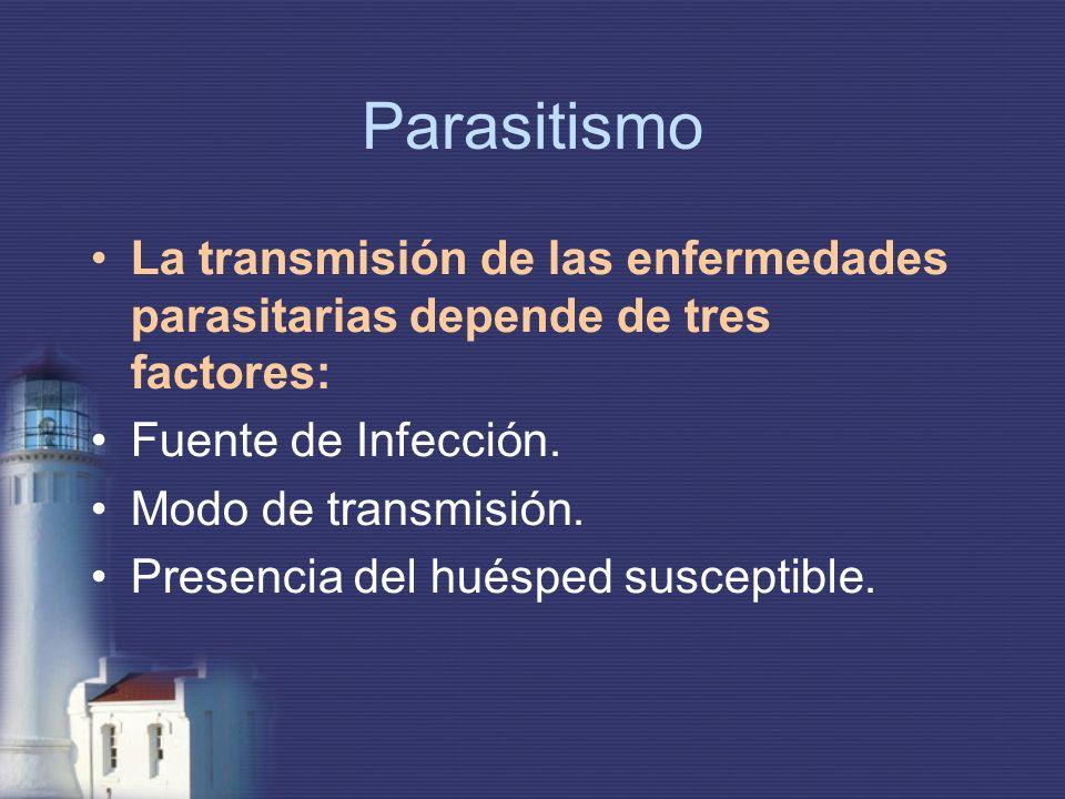 Parasitismo La transmisión de las enfermedades parasitarias depende de tres factores: Fuente de Infección. Modo de transmisión. Presencia del huésped