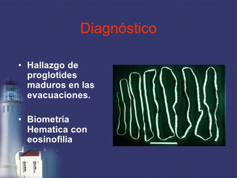Diagnóstico Hallazgo de proglotides maduros en las evacuaciones. Biometría Hematica con eosinofilia