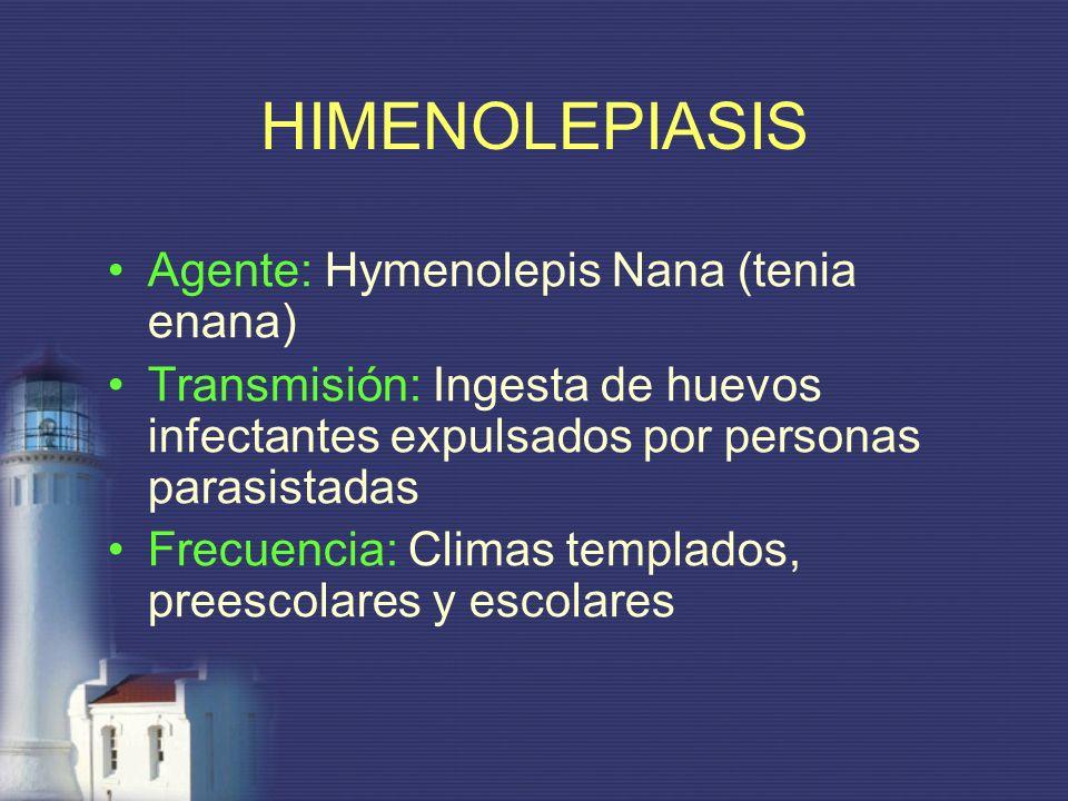 Agente: Hymenolepis Nana (tenia enana) Transmisión: Ingesta de huevos infectantes expulsados por personas parasistadas Frecuencia: Climas templados, p