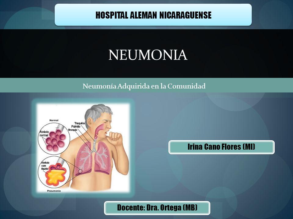 Irina Cano Flores (MI) NEUMONIA HOSPITAL ALEMAN NICARAGUENSE Neumonía Adquirida en la Comunidad Docente: Dra. Ortega (MB)