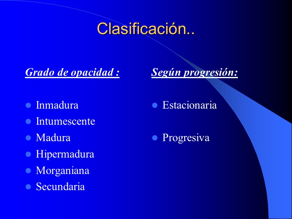 Clasificación.. Grado de opacidad : Inmadura Intumescente Madura Hipermadura Morganiana Secundaria Según progresión: Estacionaria Progresiva