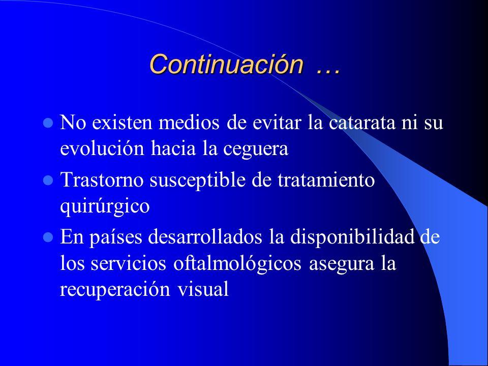 Continuación … No existen medios de evitar la catarata ni su evolución hacia la ceguera Trastorno susceptible de tratamiento quirúrgico En países desa