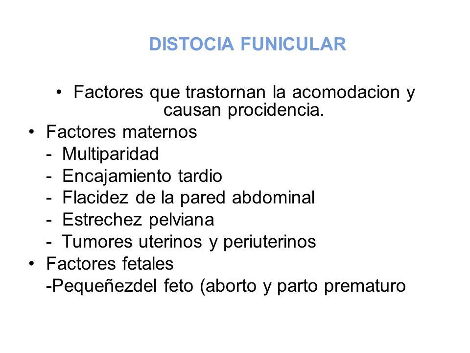 DISTOCIA FUNICULAR Factores que trastornan la acomodacion y causan procidencia. Factores maternos - Multiparidad - Encajamiento tardio - Flacidez de l