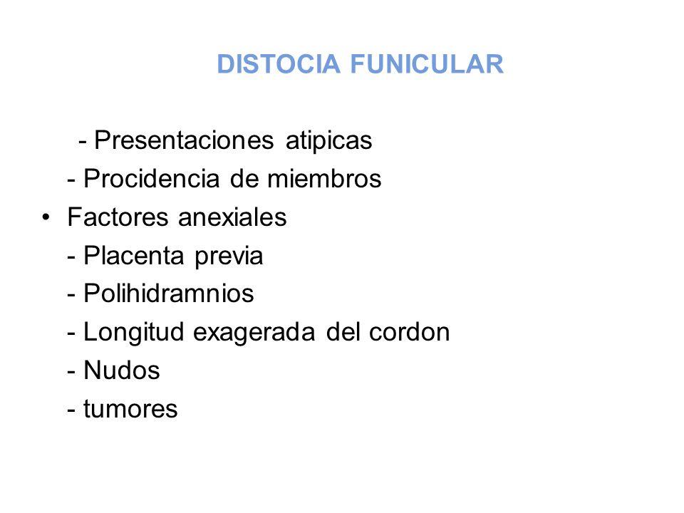DISTOCIA FUNICULAR - Presentaciones atipicas - Procidencia de miembros Factores anexiales - Placenta previa - Polihidramnios - Longitud exagerada del