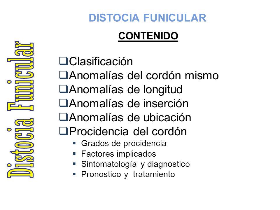DISTOCIA FUNICULAR CONTENIDO Clasificación Anomalías del cordón mismo Anomalías de longitud Anomalías de inserción Anomalías de ubicación Procidencia