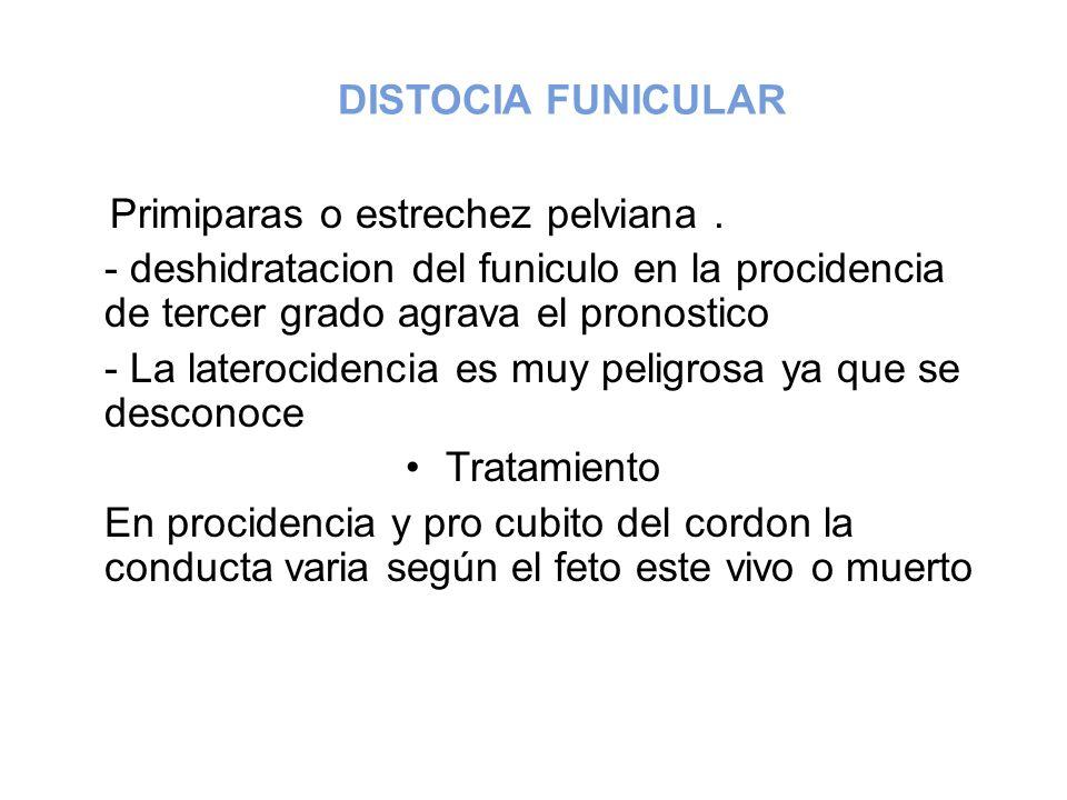 DISTOCIA FUNICULAR Primiparas o estrechez pelviana. - deshidratacion del funiculo en la procidencia de tercer grado agrava el pronostico - La lateroci