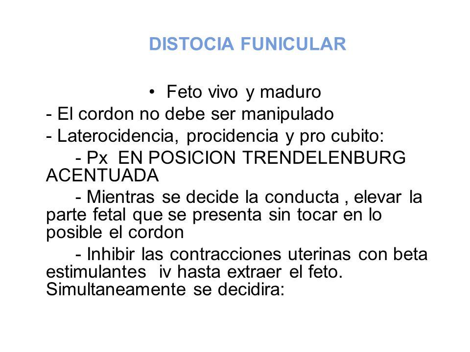 DISTOCIA FUNICULAR Feto vivo y maduro - El cordon no debe ser manipulado - Laterocidencia, procidencia y pro cubito: - Px EN POSICION TRENDELENBURG AC