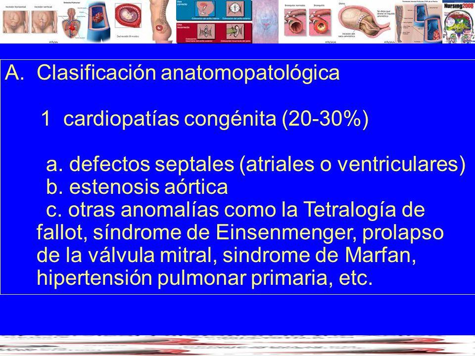 A.Clasificación anatomopatológica 1 cardiopatías congénita (20-30%) a. defectos septales (atriales o ventriculares) b. estenosis aórtica c. otras anom