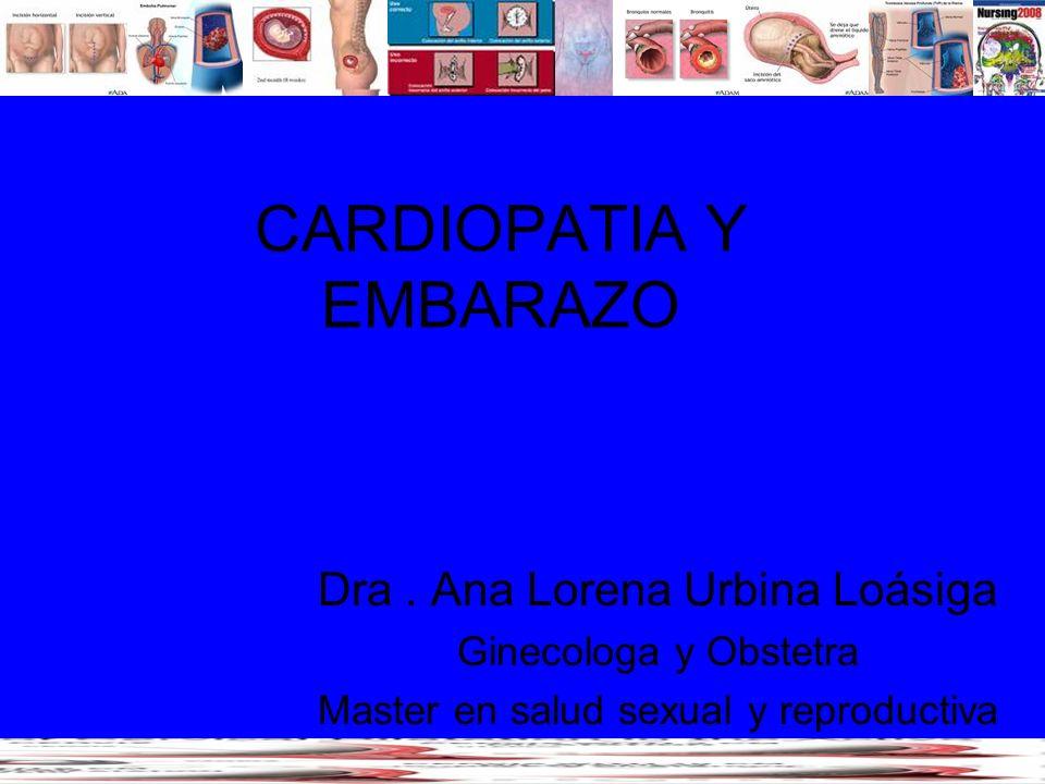 CARDIOPATIA Y EMBARAZO Dra. Ana Lorena Urbina Loásiga Ginecologa y Obstetra Master en salud sexual y reproductiva