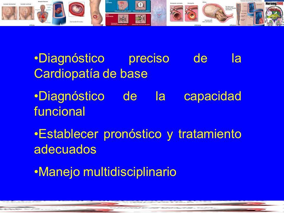 Diagnóstico preciso de la Cardiopatía de base Diagnóstico de la capacidad funcional Establecer pronóstico y tratamiento adecuados Manejo multidiscipli