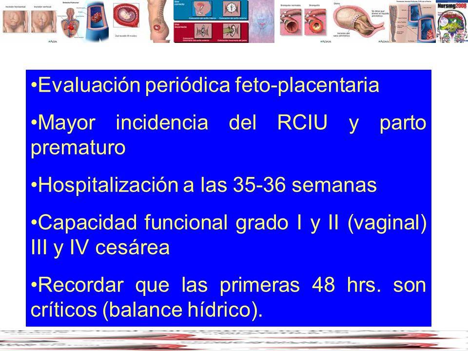 Evaluación periódica feto-placentaria Mayor incidencia del RCIU y parto prematuro Hospitalización a las 35-36 semanas Capacidad funcional grado I y II