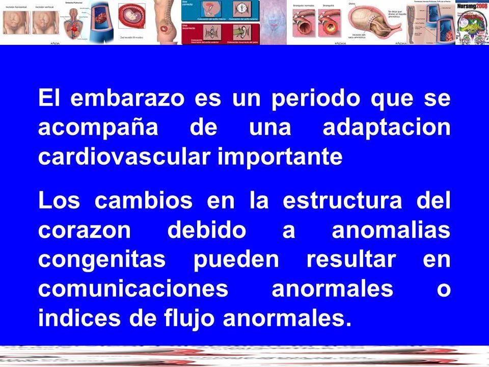 El embarazo es un periodo que se acompaña de una adaptacion cardiovascular importante Los cambios en la estructura del corazon debido a anomalias cong