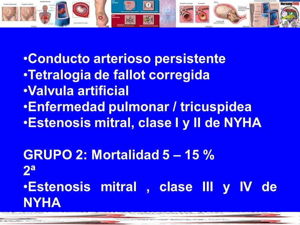 Conducto arterioso persistente Tetralogia de fallot corregida Valvula artificial Enfermedad pulmonar / tricuspidea Estenosis mitral, clase I y II de N