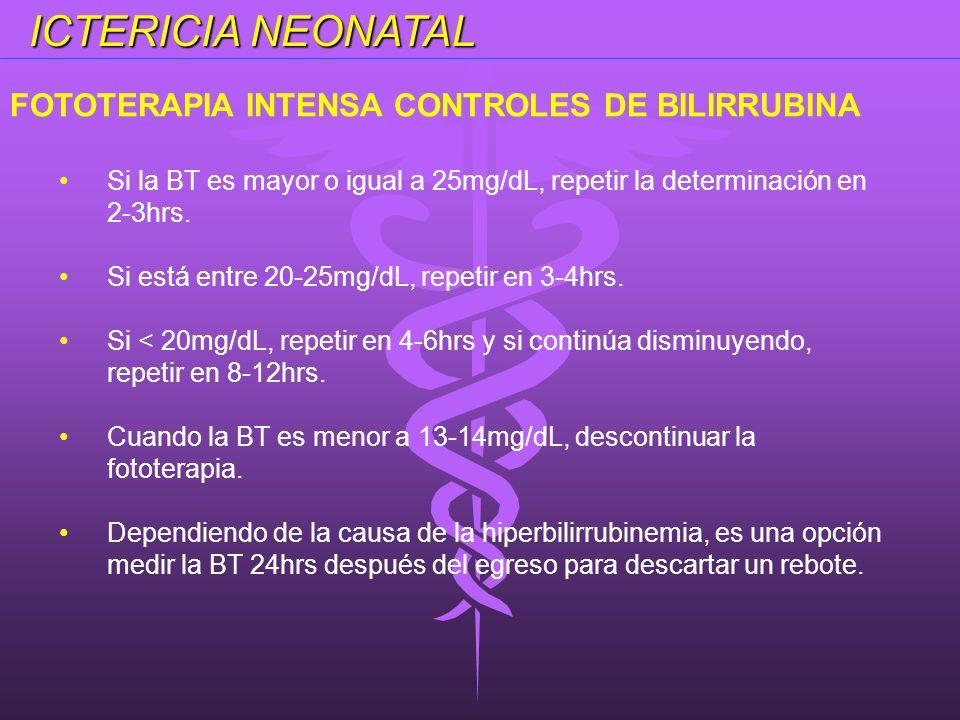 ICTERICIA NEONATAL Si la BT es mayor o igual a 25mg/dL, repetir la determinación en 2-3hrs. Si está entre 20-25mg/dL, repetir en 3-4hrs. Si < 20mg/dL,