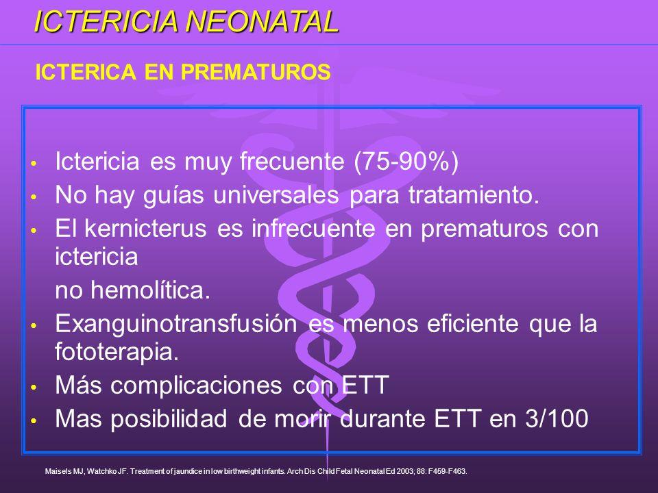 Ictericia es muy frecuente (75-90%) No hay guías universales para tratamiento. El kernicterus es infrecuente en prematuros con ictericia no hemolítica