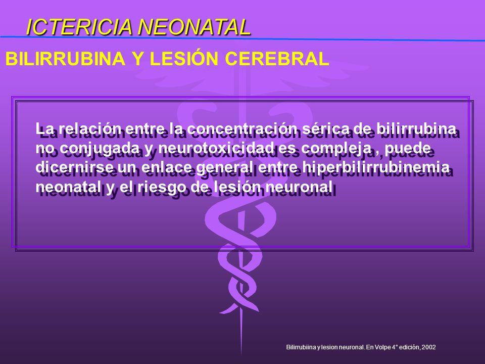 La relación entre la concentración sérica de bilirrubina no conjugada y neurotoxicidad es compleja, puede dicernirse un enlace general entre hiperbili