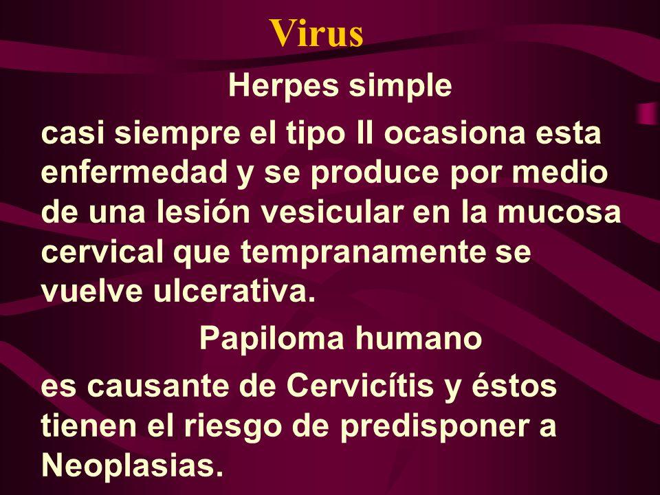 Herpes simple casi siempre el tipo II ocasiona esta enfermedad y se produce por medio de una lesión vesicular en la mucosa cervical que tempranamente