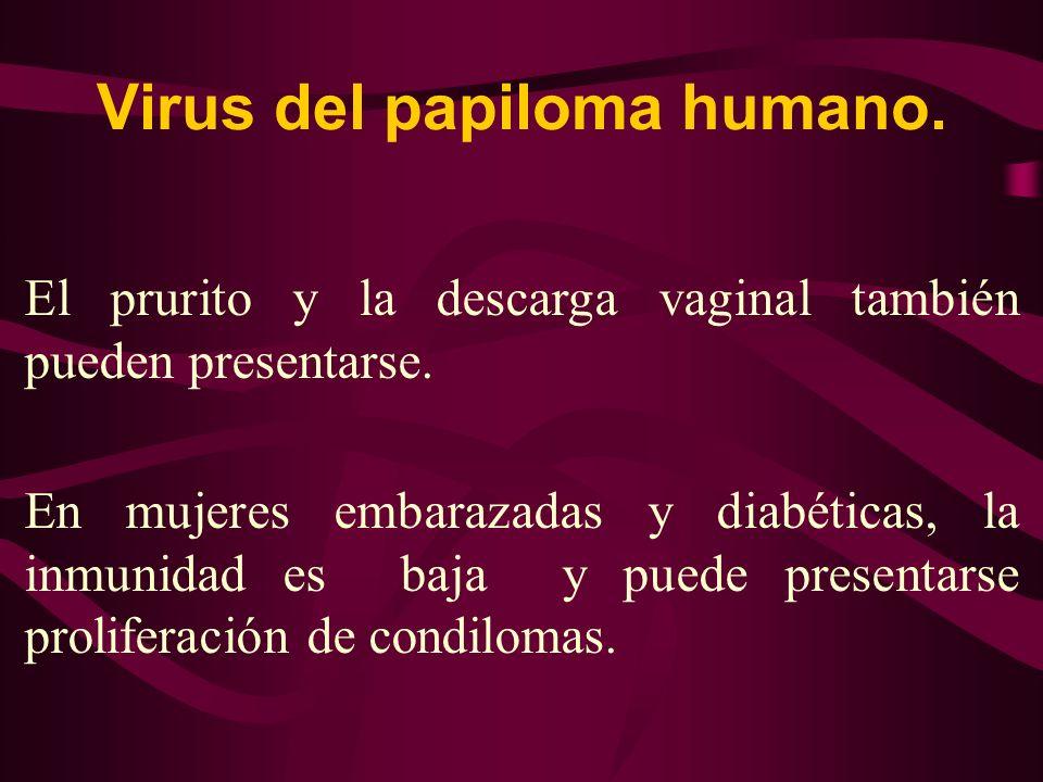 Virus del papiloma humano. El prurito y la descarga vaginal también pueden presentarse. En mujeres embarazadas y diabéticas, la inmunidad es baja y pu