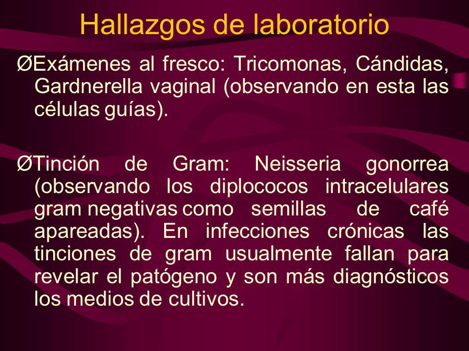 Hallazgos de laboratorio ØExámenes al fresco: Tricomonas, Cándidas, Gardnerella vaginal (observando en esta las células guías). ØTinción de Gram: Neis