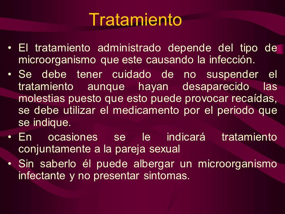 Tratamiento El tratamiento administrado depende del tipo de microorganismo que este causando la infección. Se debe tener cuidado de no suspender el tr