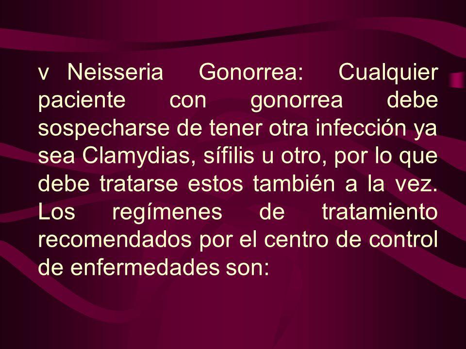vNeisseria Gonorrea: Cualquier paciente con gonorrea debe sospecharse de tener otra infección ya sea Clamydias, sífilis u otro, por lo que debe tratar