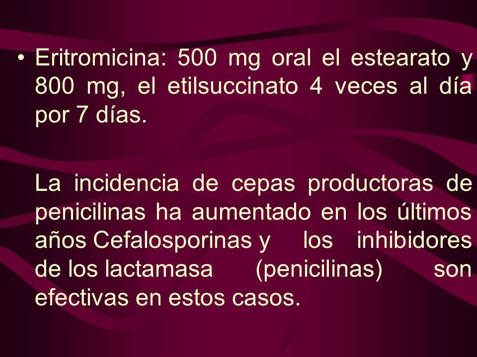 Eritromicina: 500 mg oral el estearato y 800 mg, el etilsuccinato 4 veces al día por 7 días. La incidencia de cepas productoras de penicilinas ha aume