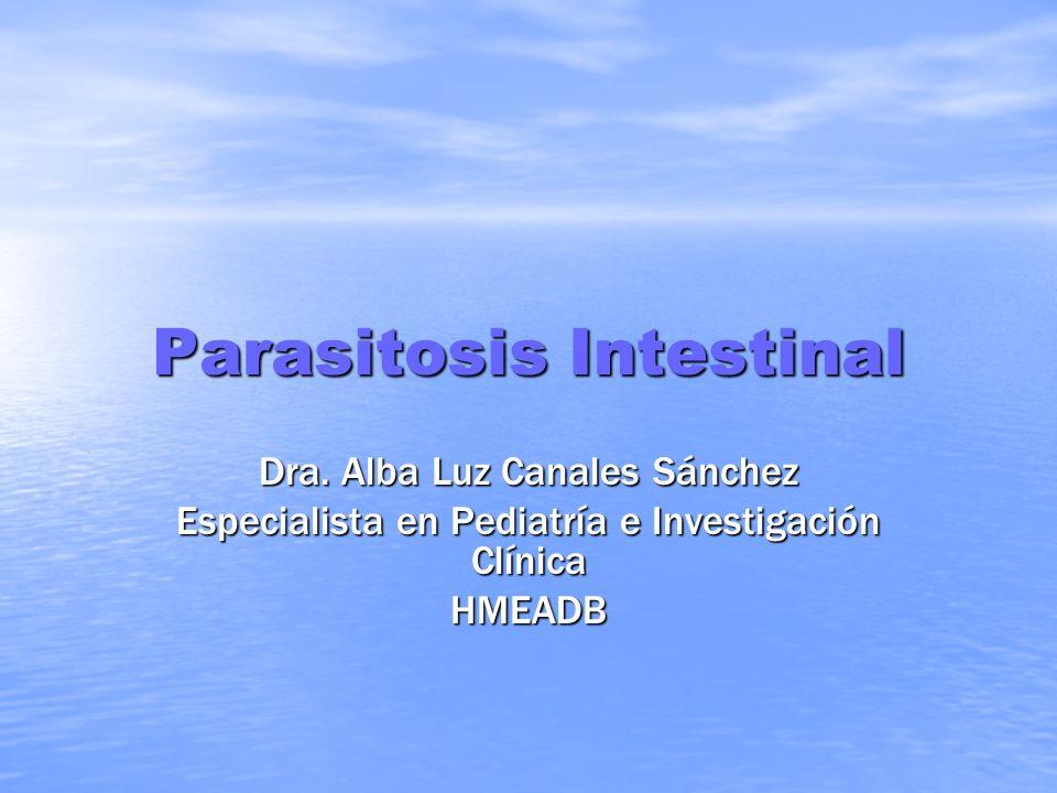 Parasitosis Intestinal Dra. Alba Luz Canales Sánchez Especialista en Pediatría e Investigación Clínica HMEADB