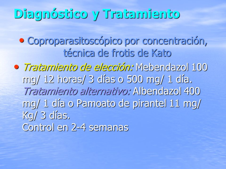 Diagnóstico y Tratamiento Coproparasitoscópico por concentración, técnica de frotis de Kato Coproparasitoscópico por concentración, técnica de frotis