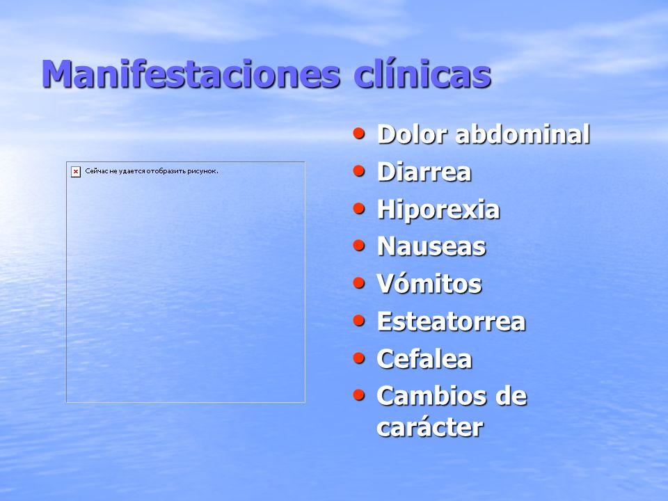 Manifestaciones clínicas Dolor abdominal Dolor abdominal Diarrea Diarrea Hiporexia Hiporexia Nauseas Nauseas Vómitos Vómitos Esteatorrea Esteatorrea C