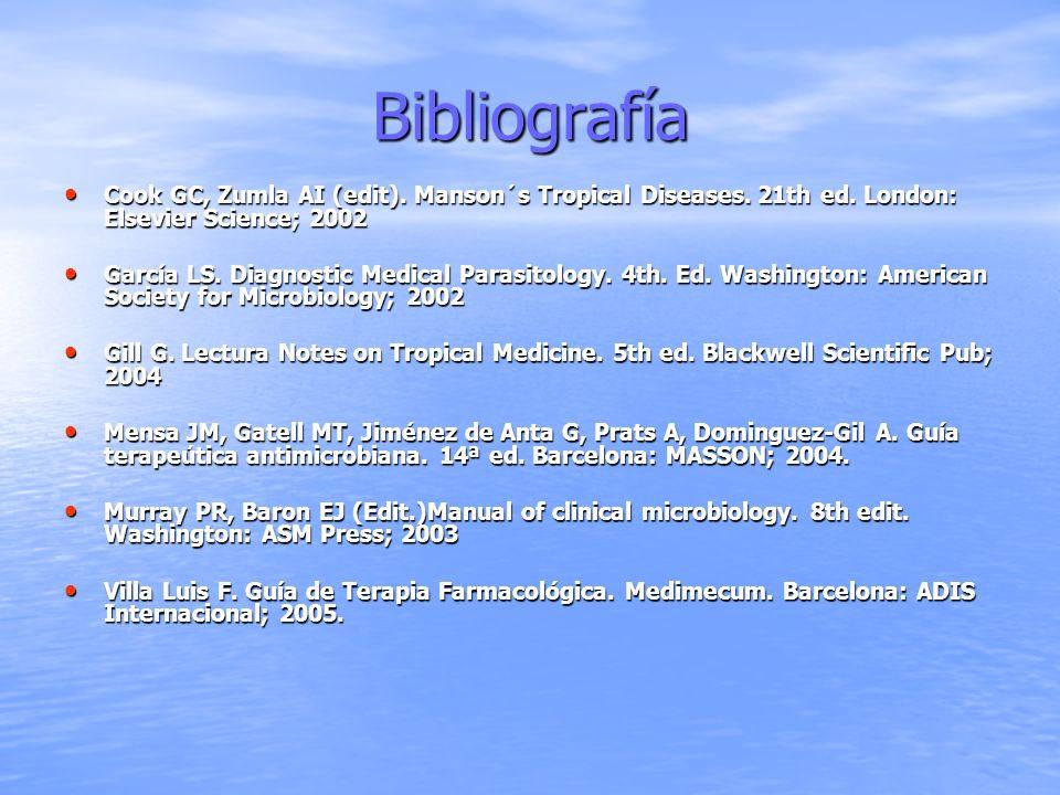Bibliografía Cook GC, Zumla AI (edit). Manson´s Tropical Diseases. 21th ed. London: Elsevier Science; 2002 Cook GC, Zumla AI (edit). Manson´s Tropical